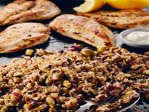 Slate Grilled Chicken and Lemon Olive Rice