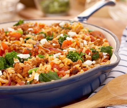 Sausage and Rapini Rice Skillet